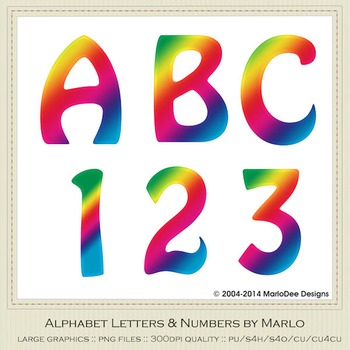 Rainbow Mix Colors Flat Hobo Style Alpha & Number Graphics 2