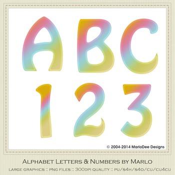 Orange Pink Blue Mix Colors Flat Hobo Style Alpha & Number Graphics