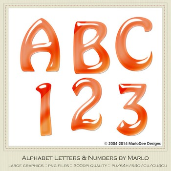 Orange Mix Colors Gloss Hobo Style Alpha & Number Graphics