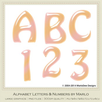 Pink Peach Mix Colors Gloss Hobo Style Alpha & Number Graphics