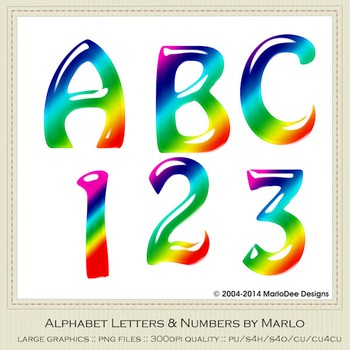 Rainbow Mix Colors Gloss Hobo Style Alpha & Number Graphics 2