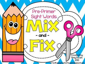 MIX & FIX Sight Word Mini-Book - Dolch Pre-Primer CCSS Ali
