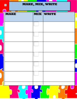 Mix Fix Write Sheet For Word Work Center