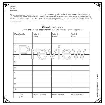Mix Fractions Assessment & IEP Goal Tracker Sheet