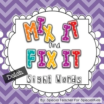 ***Mix It, Fix It- Sight Word Activities and Printables {Dolch Words}