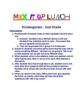 Mix It Up Lunch Activity for K-2nd