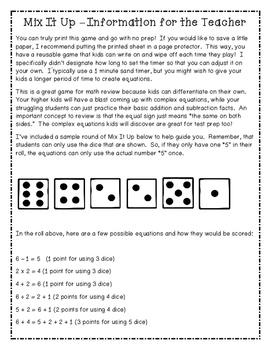 Mix It Up NO PREP Math Game - 600th Follower Freebie!