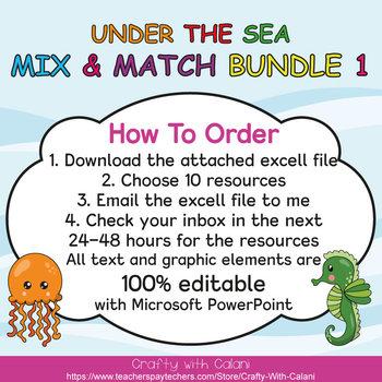Mix & Match - Under The Sea  Classroom Theme Bundle #1 - 100% Editable