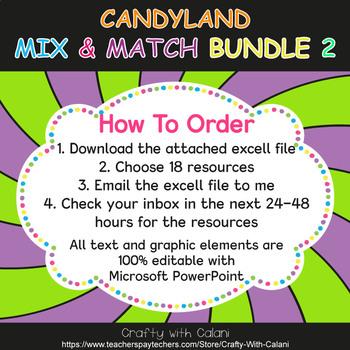 Mix & Match - Candy Land Classroom Decor Bundle #2 - 100% Editable