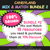 Mix & Match - Candy Land Classroom Decor Bundle #2 - 100% Editable