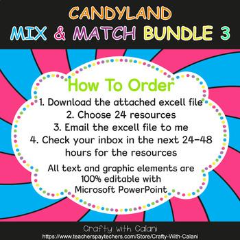 Mix & Match - Candy Land Classroom Decor Bundle #3 - 100% Editable