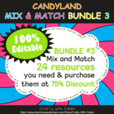 Mix & Match - Candy Land Classroom Decor Bundle #3 - 100% Editable