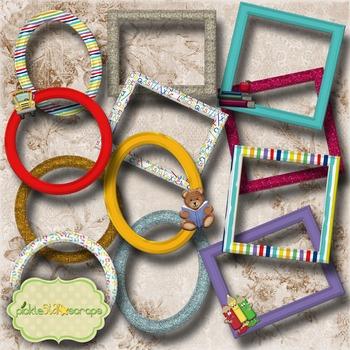 Mix & Match Collection Vol5 12 Printable Digital Frames School Frames