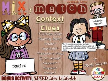 Mix & Match Context Clues!! w/BONUS Activity: SPEED Mix & Match