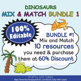 Mix & Match - Cute Dinosaurs Classroom Theme Bundle #1 - 100% Editable