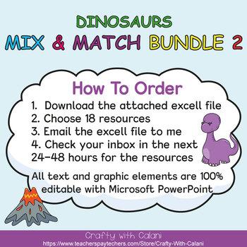 Mix & Match - Cute Dinosaurs Classroom Theme  Bundle #2 - 100% Editable