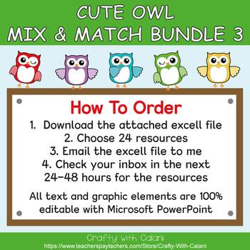 Mix & Match - Cute Owl Classroom Theme Bundle #3 - 100% Editable
