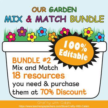 Mix & Match - Flower & Bug Classroom Decor Bundle #2 - 100% Editable