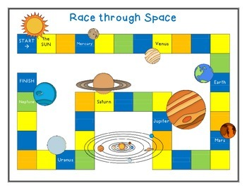 Mix & Match Game Board {Space} and Game Cards {Simple Addition - Set 1}