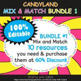 Mix & Match - Candy Land Classroom Decor Bundle #1 - 100% Editable