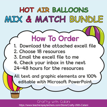 Mix & Match - Hot Air Balloons Classroom Decor Bundle #2 - 100% Editable