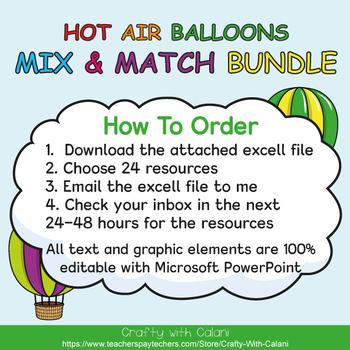 Mix & Match - Hot Air Balloons Classroom Decor Bundle #3 - 100% Editable