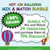 Mix & Match - Hot Air Balloons Classroom Decor Bundle #3 -