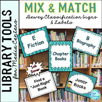 Library Skills: Dewey Decimal Signage for Media Center: Mix & Match Turquoise