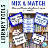 Library Skills: Dewey Decimal Signage for Media Center: Mix & Match Blue & White