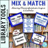 Dewey Decimal Posters for Library Media Center Blue and White