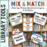 Library Skills: Dewey Decimal Signage for Media Center: Mix & Match Multicolor