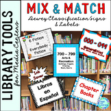 Dewey Decimal Posters for Library Media Center Red and Blue