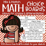 Math Choice Boards (Mix & Match) - You Choose The Objectives