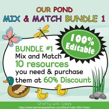 Mix & Match - Our Pond Classroom Theme Bundle #1 - 100% Editable