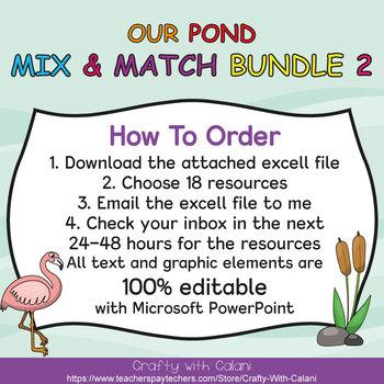 Mix & Match - Our Pond Classroom Theme  Bundle #2 - 100% Editable