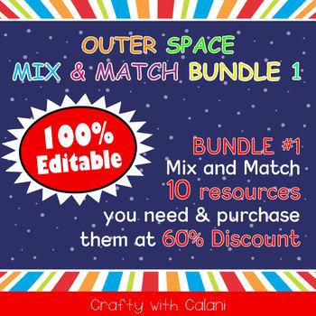 Mix & Match - Outer Space Classroom Theme Bundle #1 - 100% Editable