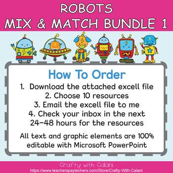 Mix & Match - Robots Classroom Theme Bundle #1 - 100% Editable