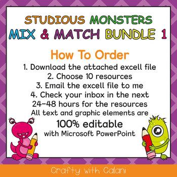 Mix & Match - Studious Monsters Classroom Theme Bundle #1 - 100% Editable