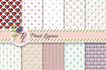 Mix Paper. Ikat, cross stitch heart, geometric, cherry, polka dot fine.