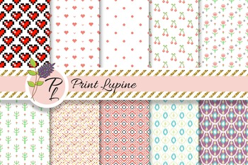 Mix Paper. Ikat, cross stitch heart, geometric, cherry, po