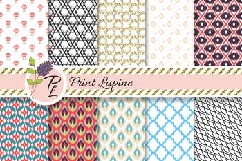 Mix Paper. Ikat, cross stitch, wave, geometric, quatrefoil printable designs.