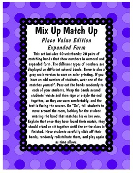Mix Up Match Up - Place Value Edition
