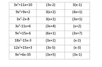Mix and Match Activity: Factoring ax^2+bx+c
