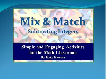 Mix and Match Activity - Subtracting Integers (Negatives)