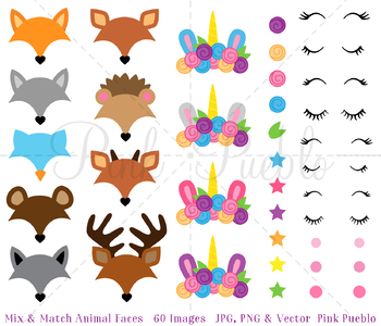 Mix and Match Animal Face Clipart, Unicorn Clipart, Forest and Woodland Animals