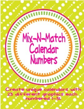 Mix and Match Calendar Number Card Set 23 Designs