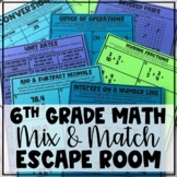 Sixth Grade Math Mix and Match Escape Room - Updated for D
