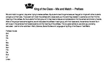 Mix and Match Prefixes