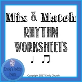 Mix and Match Rhythm Worksheets- Quarter Note and Beamed Eighths