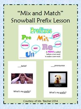 Prefixes 'Mix and Match' Snowball Game